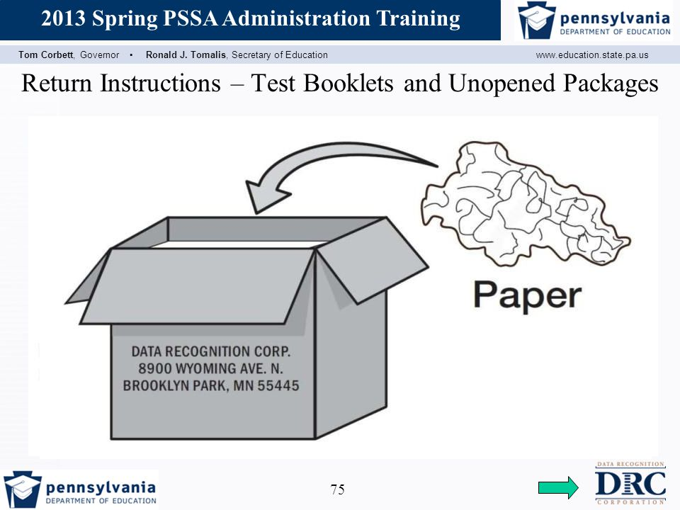 Return Instructions – Test Booklets and Unopened Packages