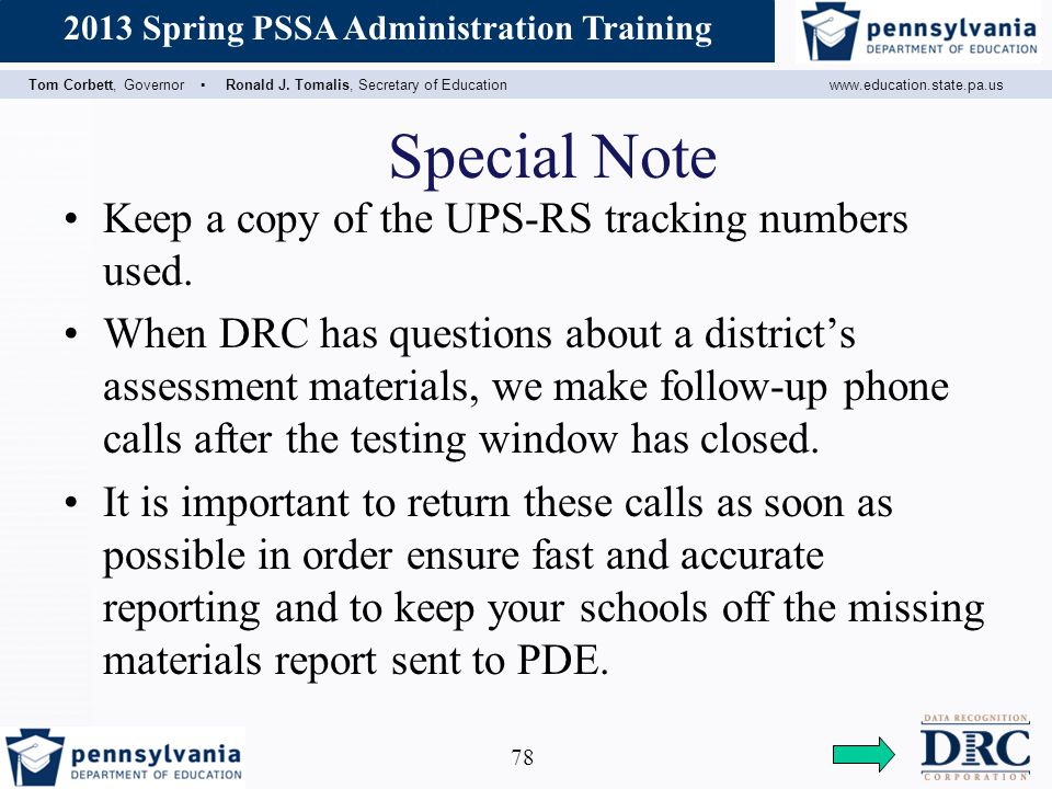 Special Note Keep a copy of the UPS-RS tracking numbers used.
