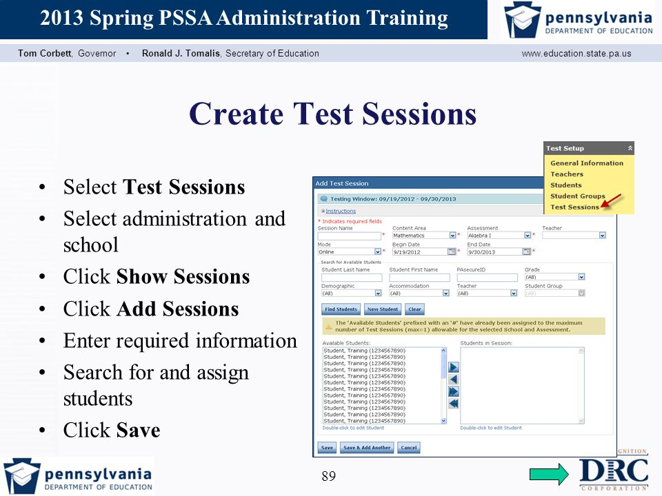 Create Test Sessions Select Test Sessions