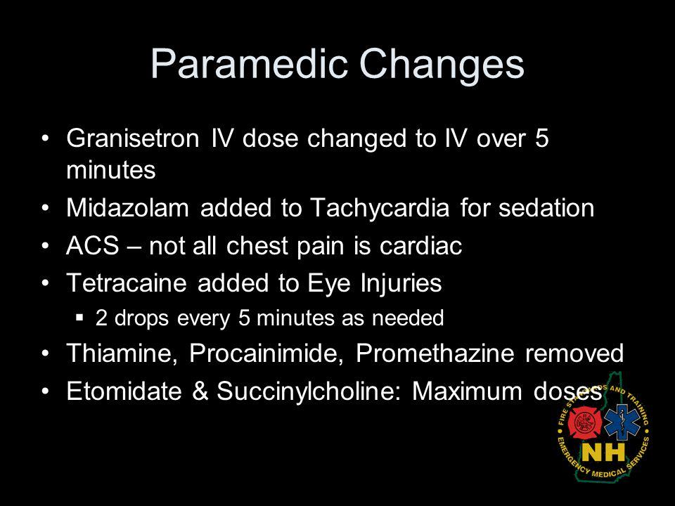 Paramedic Changes Granisetron IV dose changed to IV over 5 minutes
