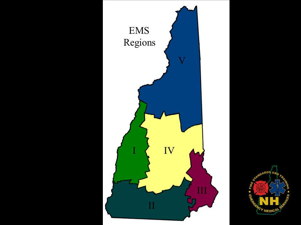 EMS Regions V I IV III II