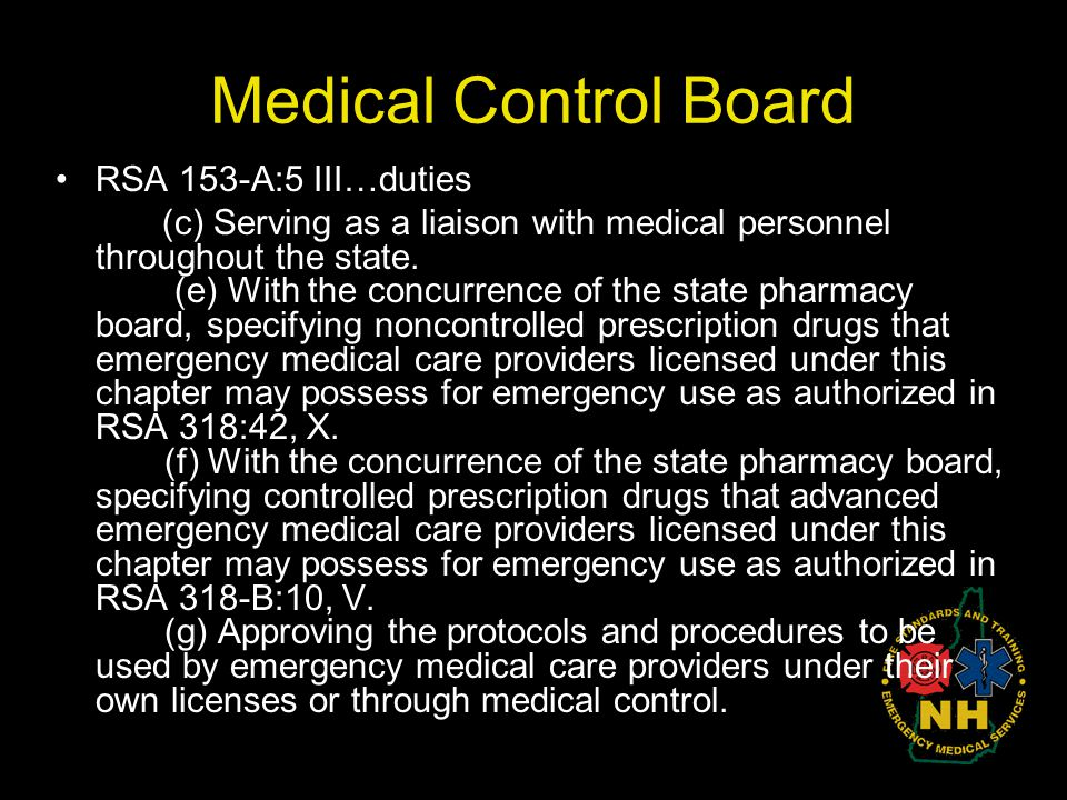 Medical Control Board RSA 153-A:5 III…duties