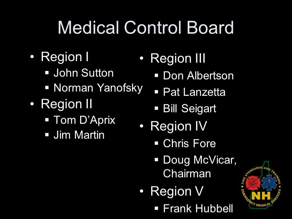 Medical Control Board Region I Region II Region III Region IV Region V