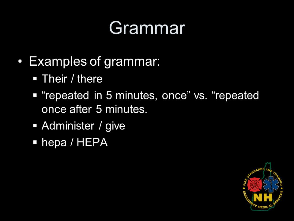 Grammar Examples of grammar: Their / there