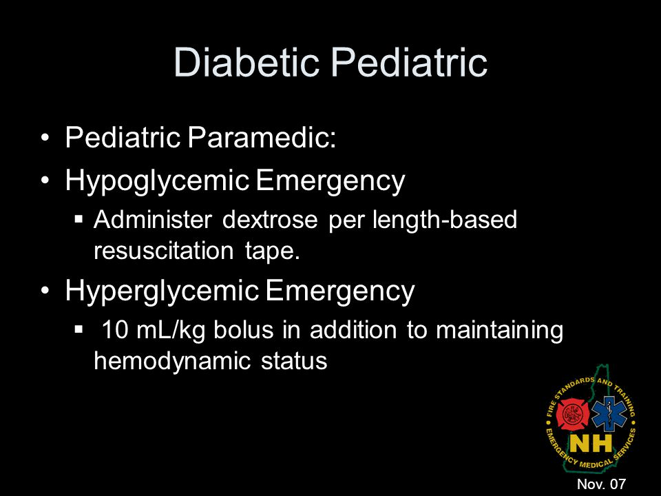 Diabetic Pediatric Pediatric Paramedic: Hypoglycemic Emergency