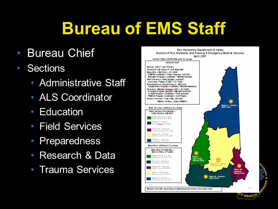 Bureau of EMS Staff Bureau Chief Sections Administrative Staff