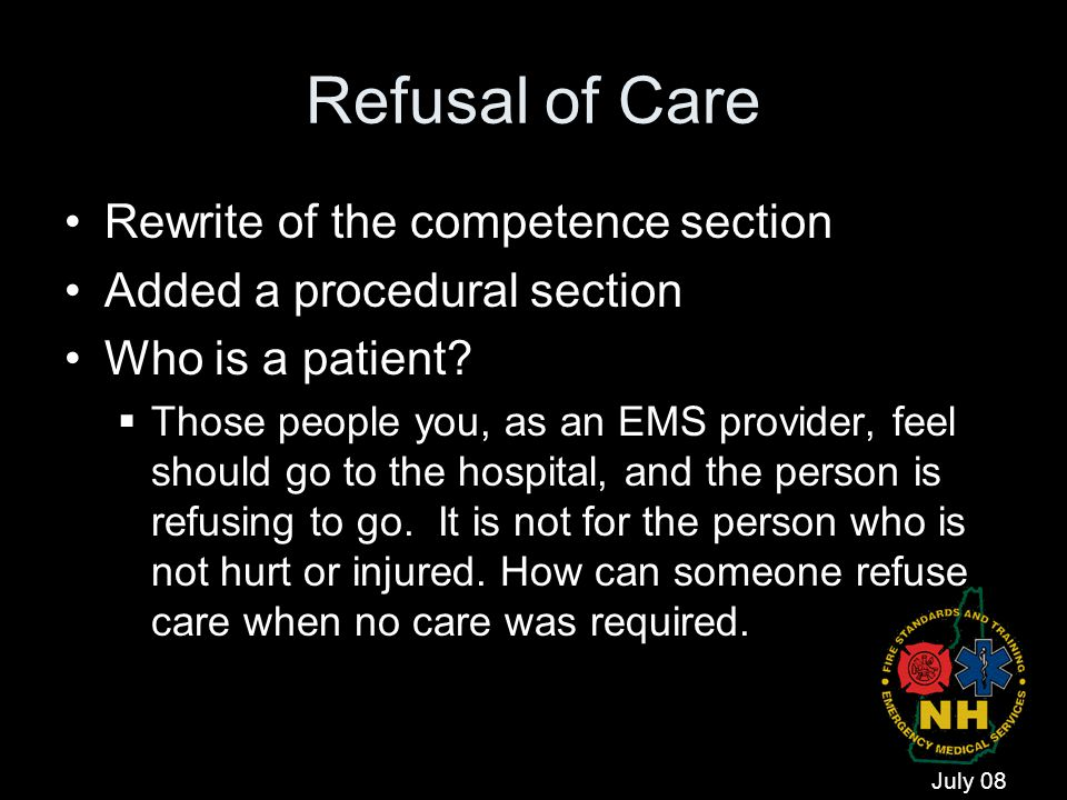 Refusal of Care Rewrite of the competence section