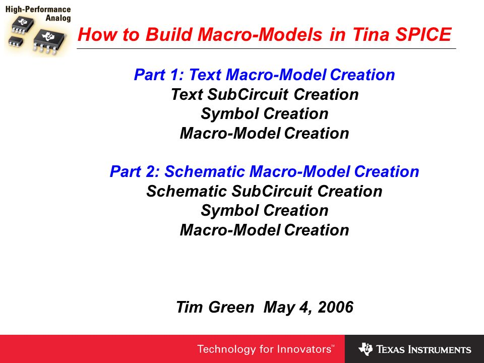 How to Build Macro-Models in Tina SPICE