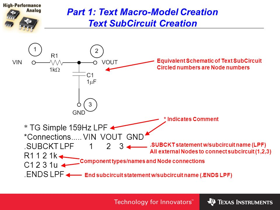 Part 1: Text Macro-Model Creation Text SubCircuit Creation