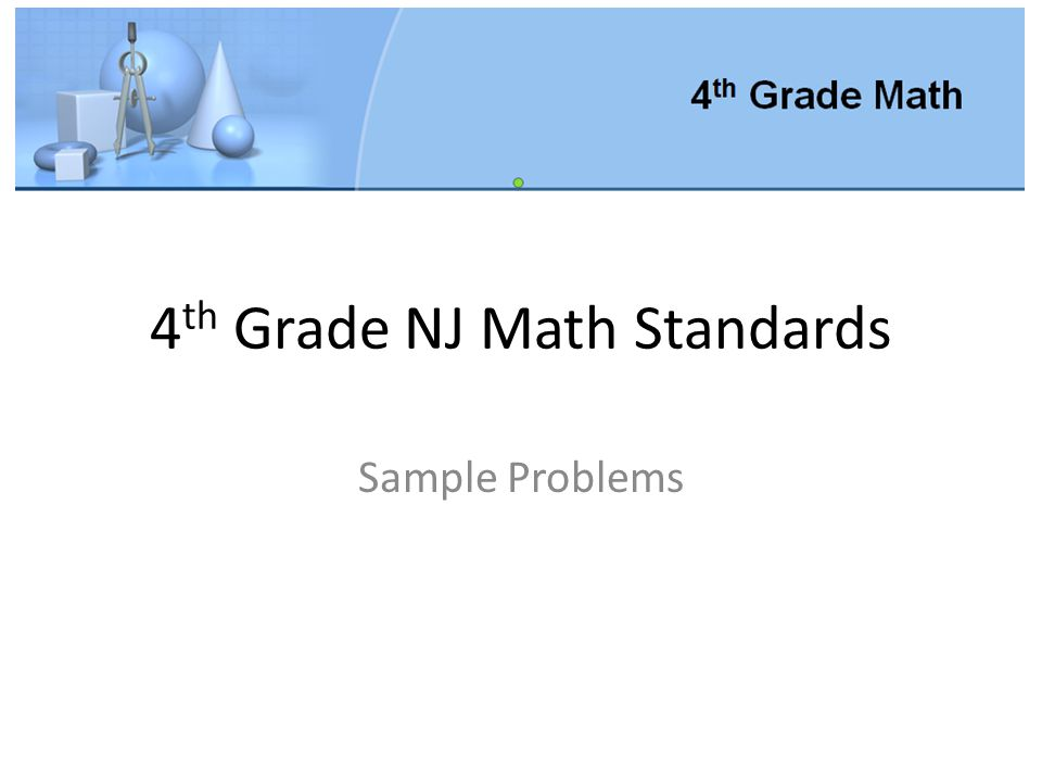 4th Grade NJ Math Standards