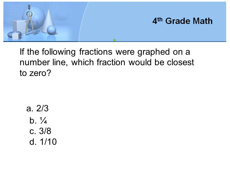 If the following fractions were graphed on a number line, which fraction would be closest to zero
