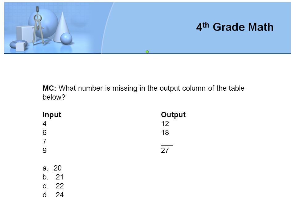 MC: What number is missing in the output column of the table below
