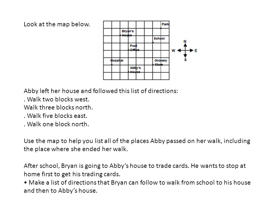 Look at the map below. Abby left her house and followed this list of directions: . Walk two blocks west.
