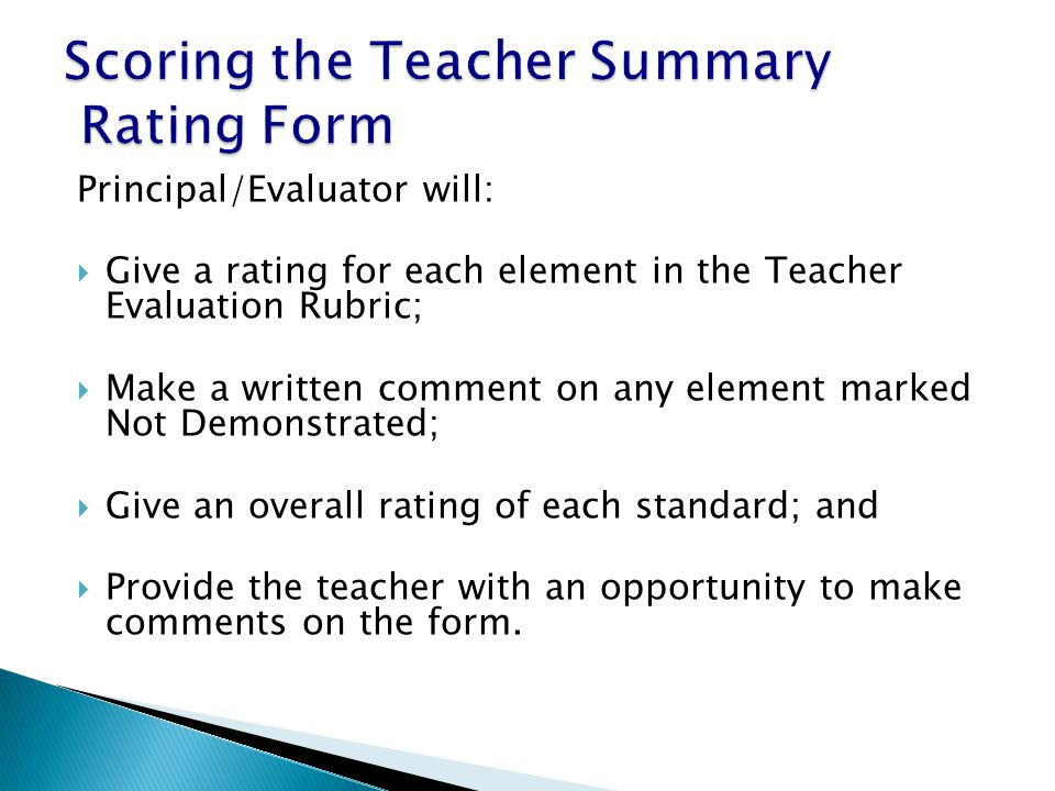 Scoring the Teacher Summary Rating Form
