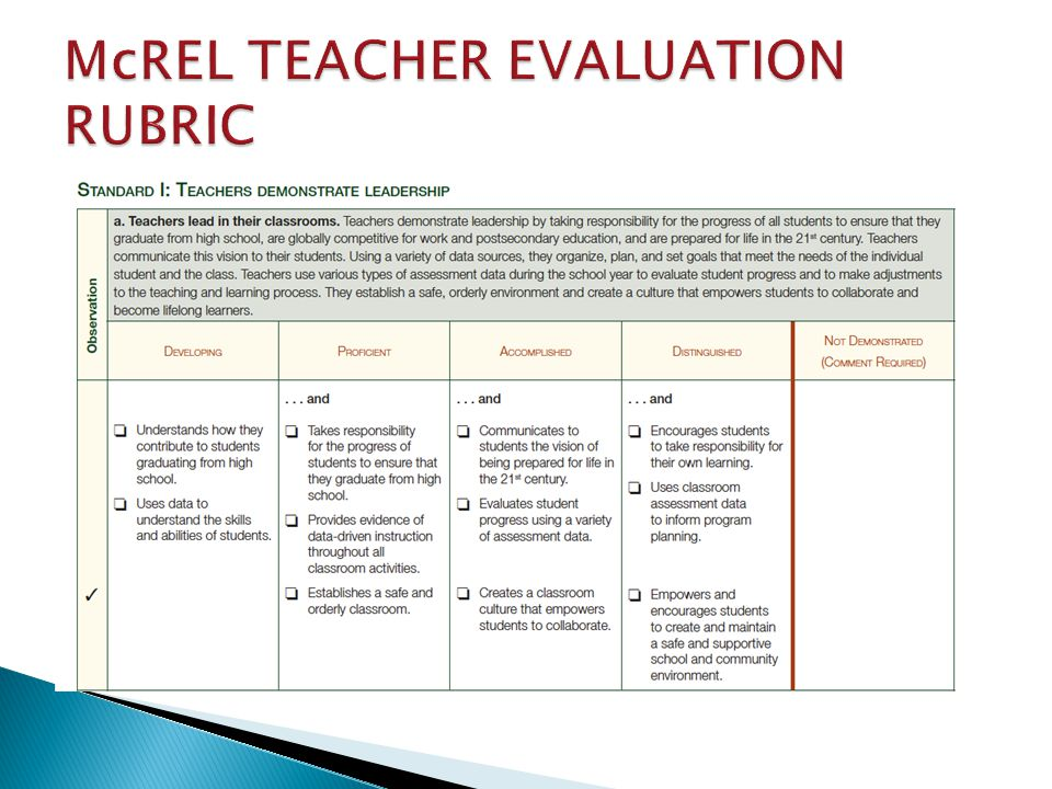McREL TEACHER EVALUATION RUBRIC