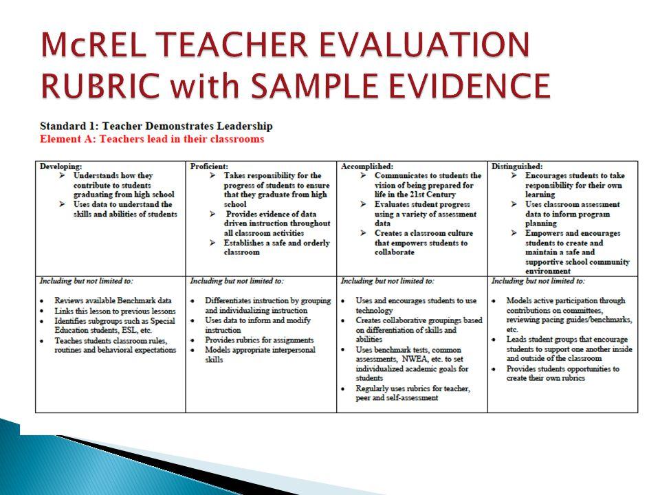 McREL TEACHER EVALUATION RUBRIC with SAMPLE EVIDENCE