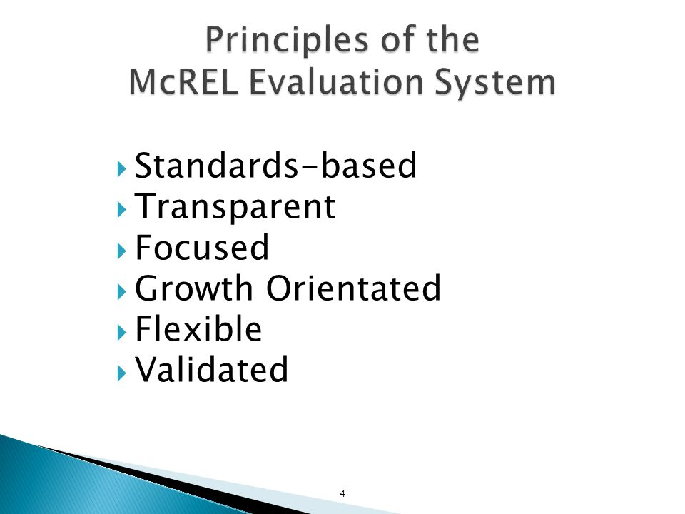 Principles of the McREL Evaluation System