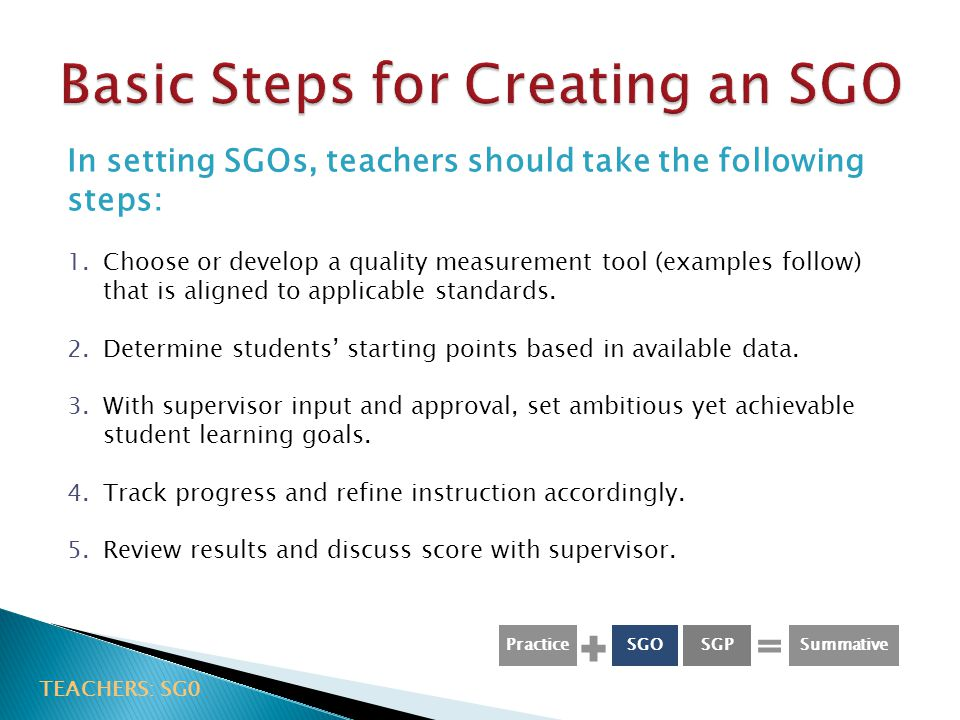 Basic Steps for Creating an SGO
