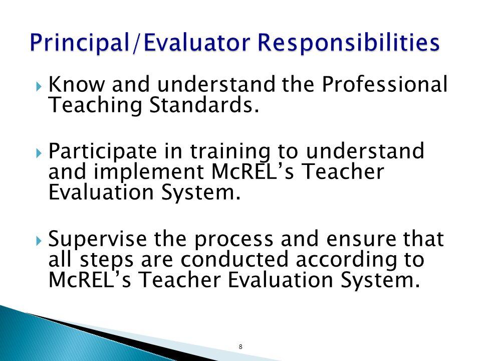 Principal/Evaluator Responsibilities