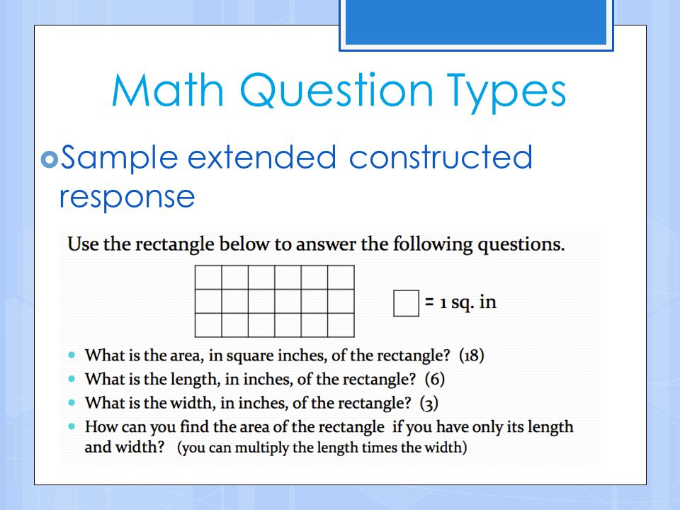 Math Question Types Sample extended constructed response
