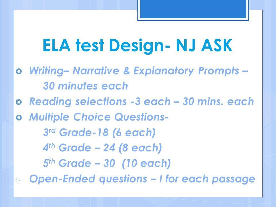 ELA test Design- NJ ASK Writing– Narrative & Explanatory Prompts –