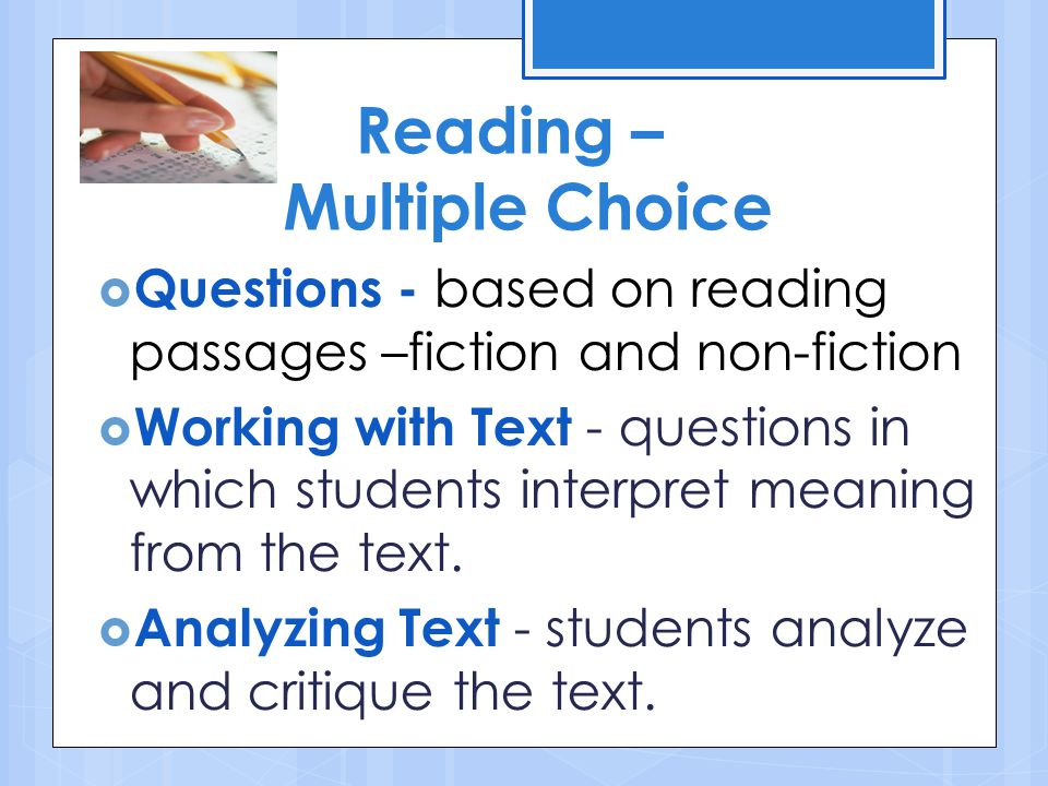 Reading – Multiple Choice