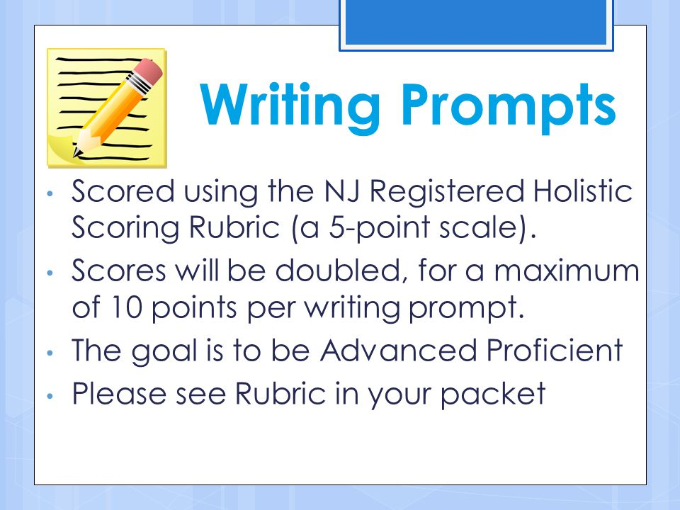 Writing Prompts Scored using the NJ Registered Holistic Scoring Rubric (a 5-point scale).