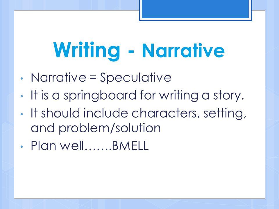 Writing - Narrative Narrative = Speculative