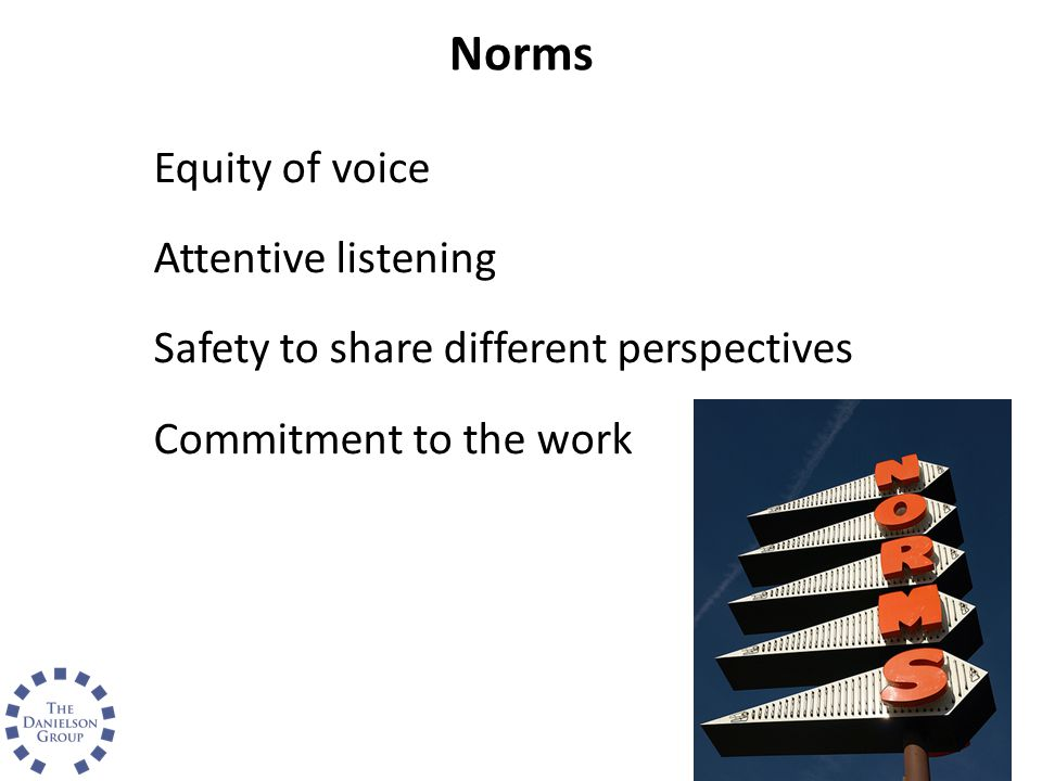 Norms Equity of voice Attentive listening