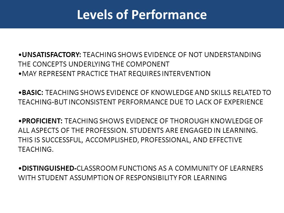 Levels of Performance •UNSATISFACTORY: TEACHING SHOWS EVIDENCE OF NOT UNDERSTANDING THE CONCEPTS UNDERLYING THE COMPONENT.