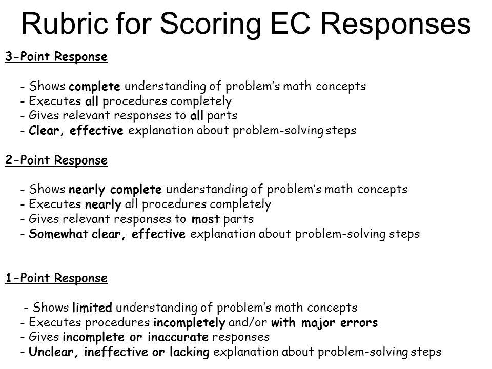 Rubric for Scoring EC Responses