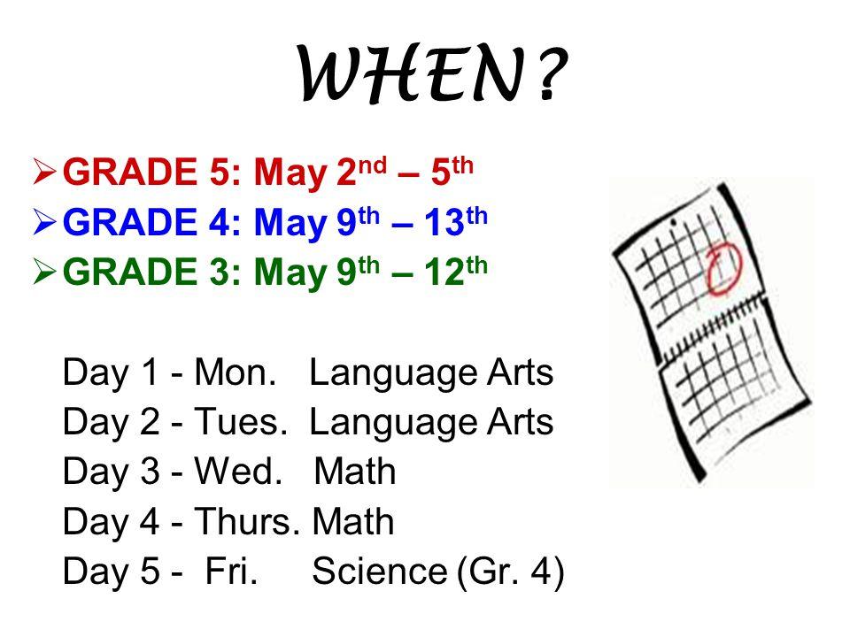 WHEN GRADE 5: May 2nd – 5th GRADE 4: May 9th – 13th