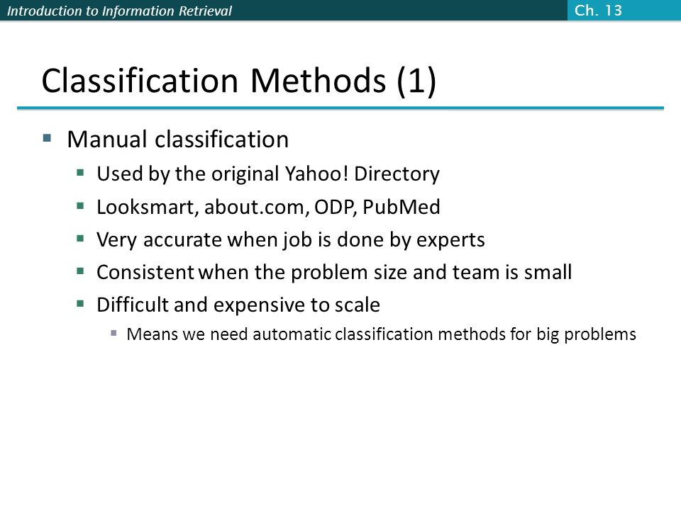 Classification Methods (1)