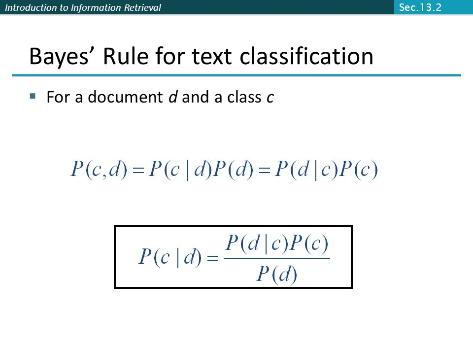 Bayes' Rule for text classification