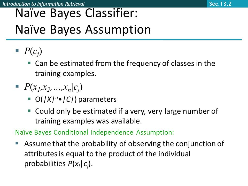 Naïve Bayes Classifier: Naïve Bayes Assumption