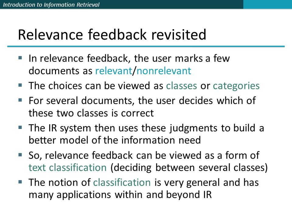 Relevance feedback revisited