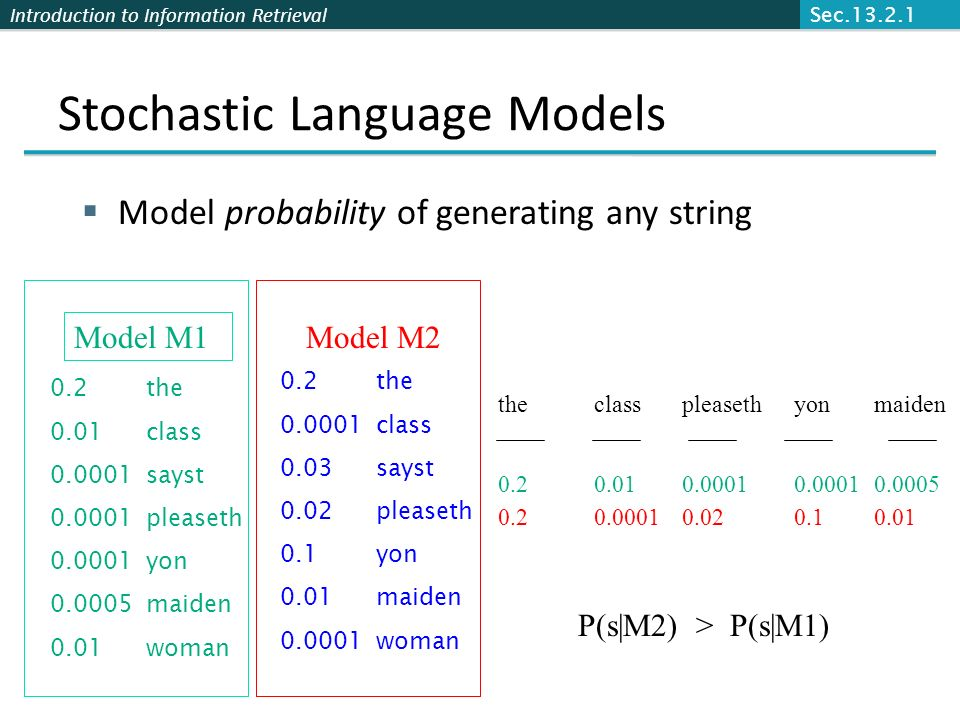 Stochastic Language Models