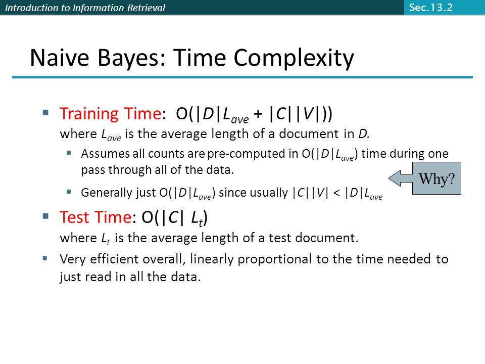 Naive Bayes: Time Complexity