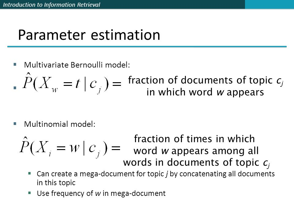 Parameter estimation fraction of documents of topic cj