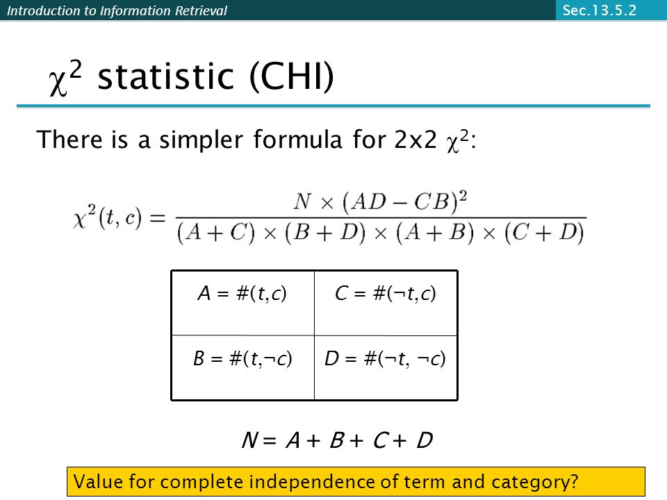 2 statistic (CHI) There is a simpler formula for 2x2 2: