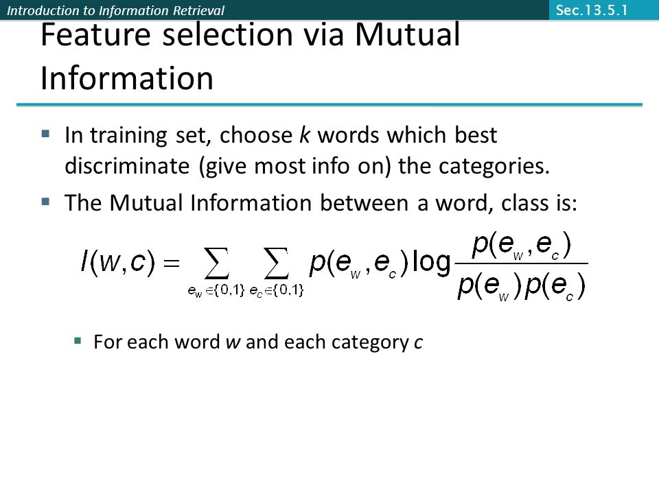 Feature selection via Mutual Information