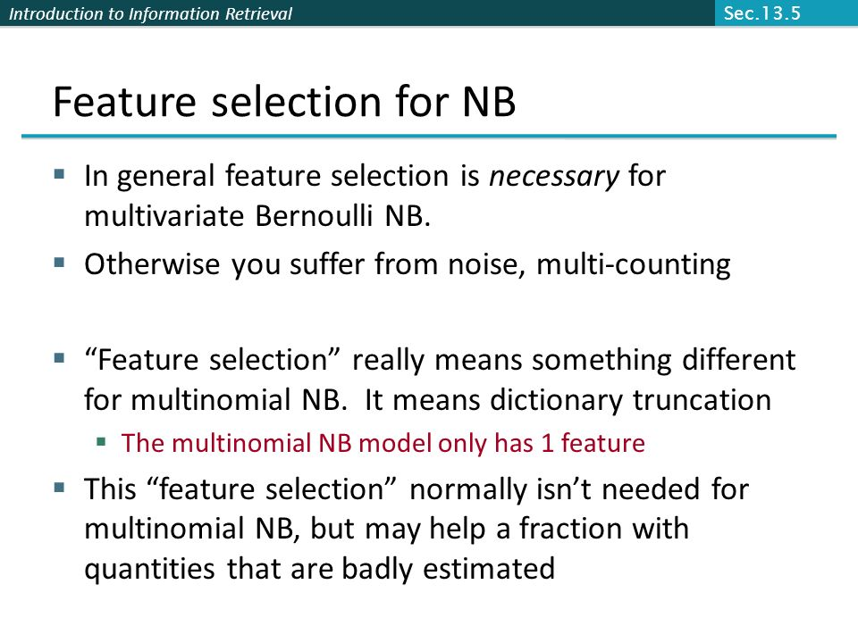 Feature selection for NB