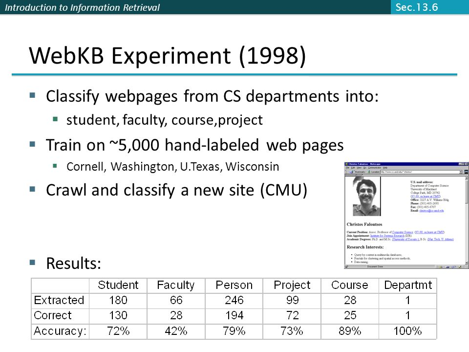WebKB Experiment (1998) Classify webpages from CS departments into: