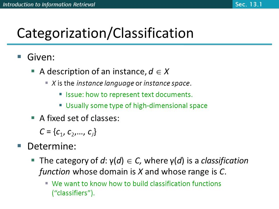 Categorization/Classification
