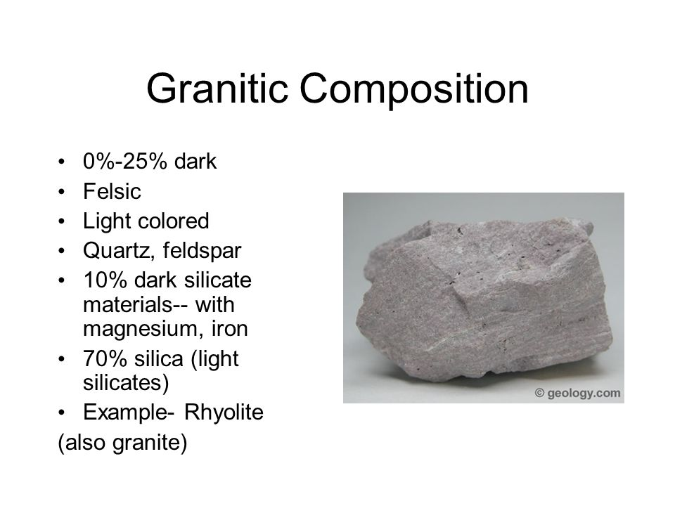 Granitic Composition 0%-25% dark Felsic Light colored Quartz, feldspar
