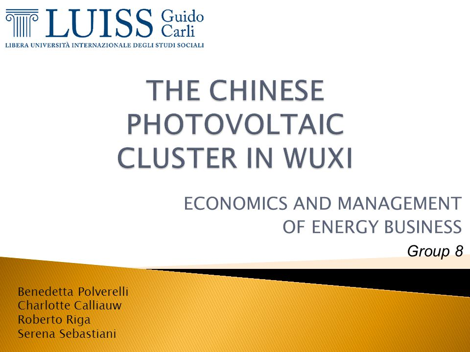 THE CHINESE PHOTOVOLTAIC CLUSTER IN WUXI
