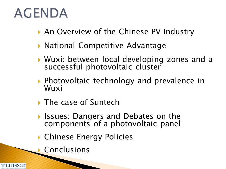 AGENDA An Overview of the Chinese PV Industry