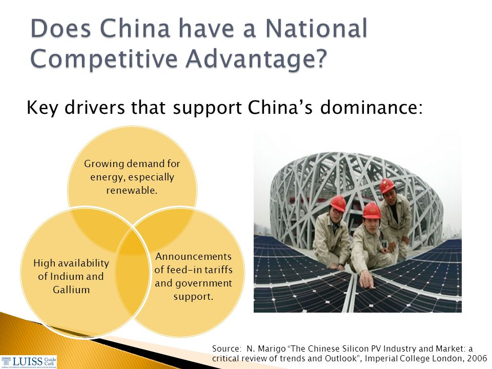 Does China have a National Competitive Advantage