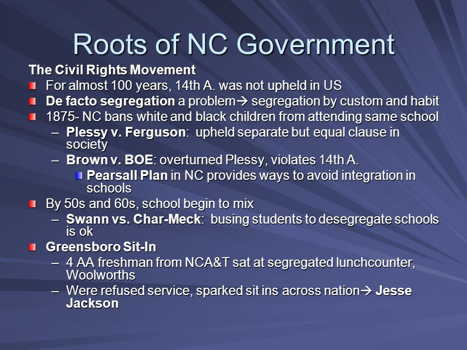 Roots of NC Government The Civil Rights Movement