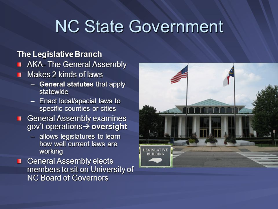 NC State Government The Legislative Branch AKA- The General Assembly